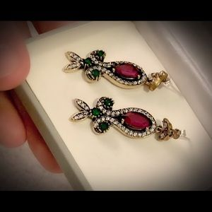 Christmas Holiday Ruby Emerald Silver Earrings 925